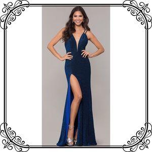 🆕NWT Blue Full Length Glitter Prom Dress W/ Train